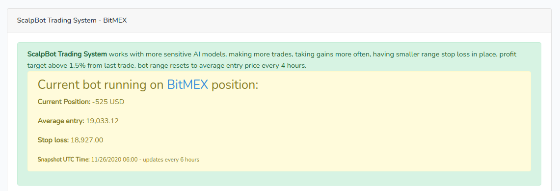 Bitcoin bot running on BitMEX current positions, stops, equity charts in BTC and USD, AI buy sell signals strength chart.